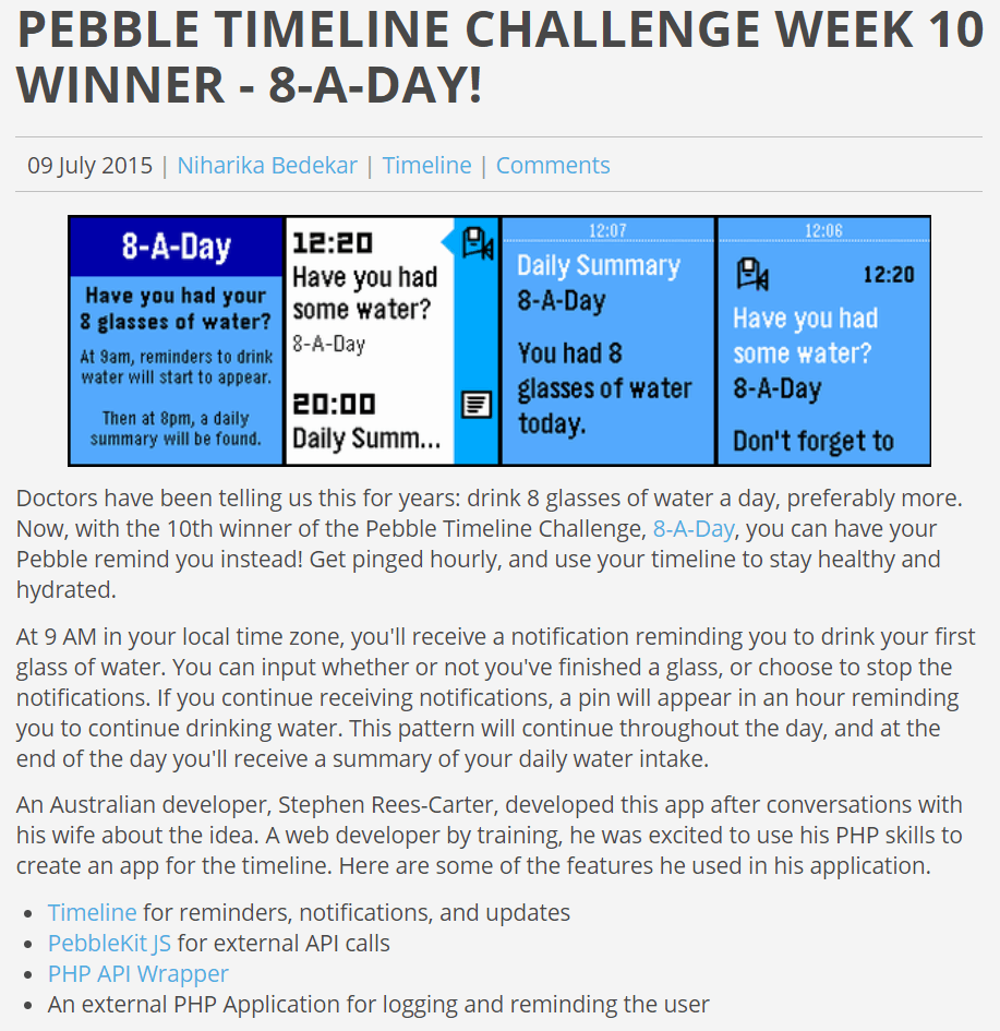 "Screenshot of the ""Pebble Timeline Challenge Week 10 - 8-A-Day"" blog post."