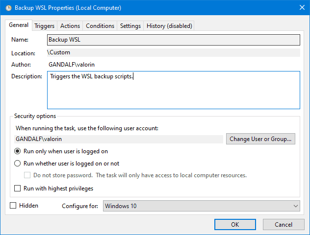 Windows Task Scheduler - WSL Backup - General