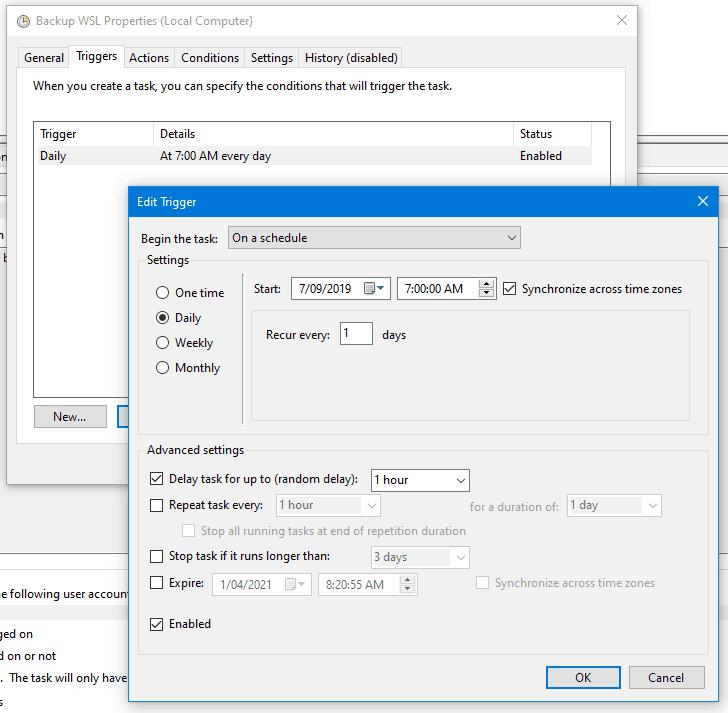 WSL Backup Task Triggers