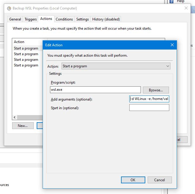 WSL Backup Task Action